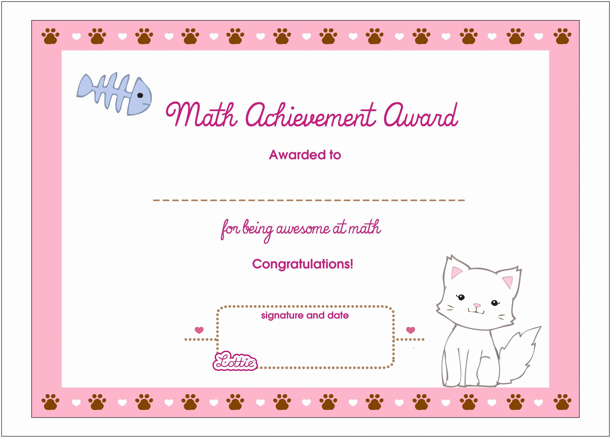 Free Printable Math Certificates Awesome Math Achievement Printable Award Certificate – Lottie Dolls