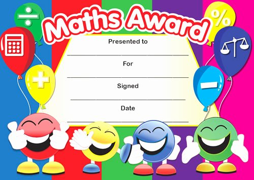 Free Printable Math Certificates Lovely Maths Award Smiley Faces Certificates