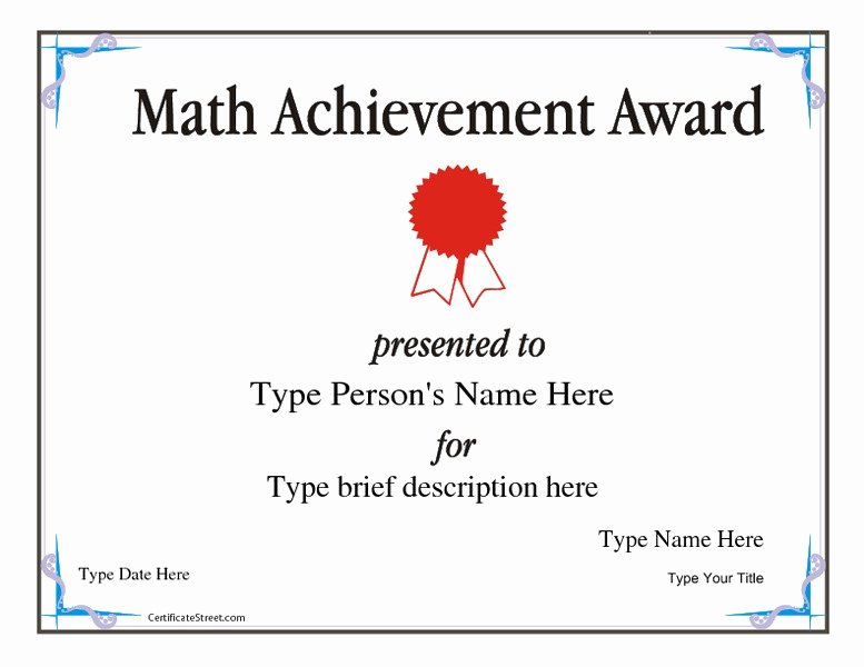Free Printable Math Certificates New Math Achievement Award Printables & Template for