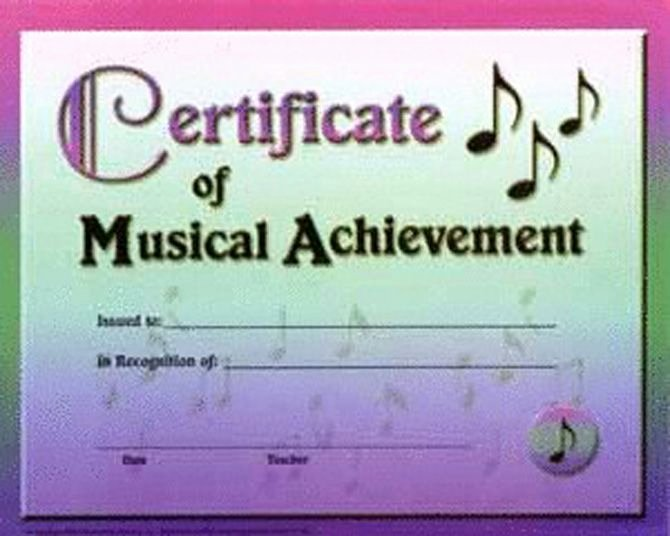 "Free Printable Music Certificates Awesome Certificate Of Musical Achievement 10"" X 8"" Package Of"