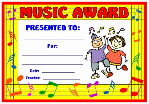 Free Printable Music Certificates Beautiful Art and Music Award Certificates