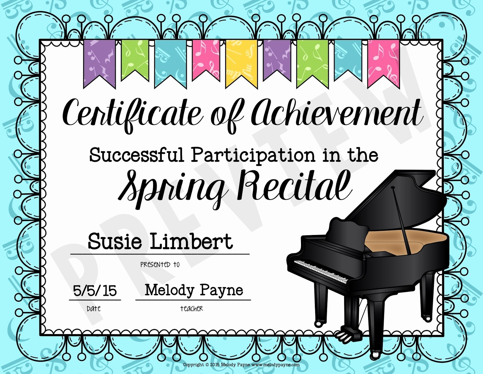 Free Printable Music Certificates Beautiful Easy Recital Prep and Gift Idea for Students