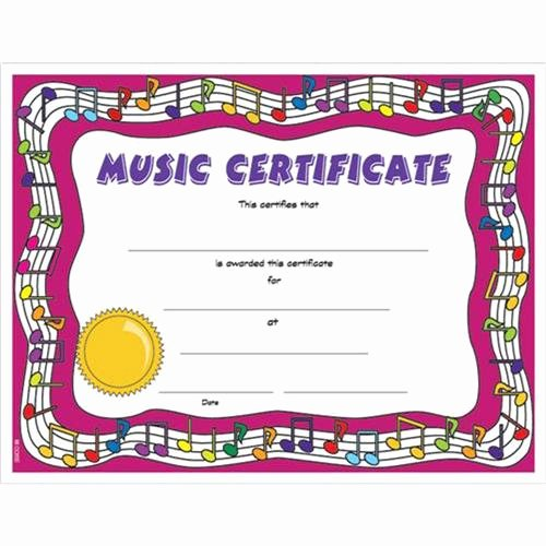 Free Printable Music Certificates Best Of Colorful Music Certificate 8 1 2 X 11 Colorful Music