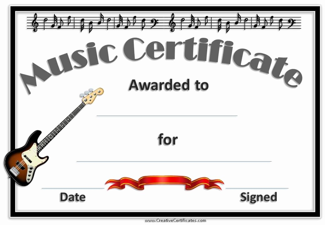 Free Printable Music Certificates Best Of Free Editable Music Certificate Template Free and