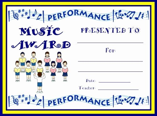 Free Printable Music Certificates Inspirational Art and Music Award Certificates