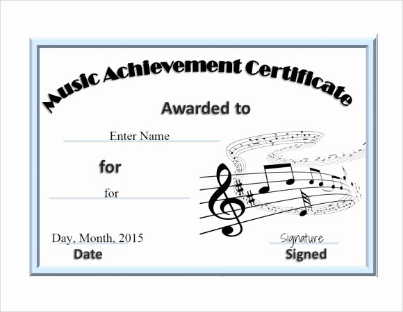 Free Printable Music Certificates Lovely Certificate Templates Free Editable Music Certificate