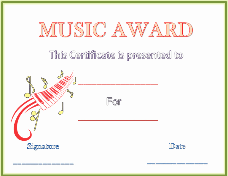Free Printable Music Certificates Unique Classical Music Award Certificate Template Microsoft