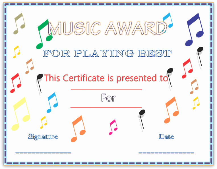 Free Printable Music Certificates Unique Colorful Musical Notes Award Certificate Template