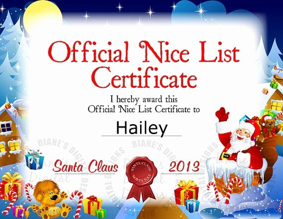 Free Printable Nice List Certificate Awesome Santa Nice List Certificate Christmas 2