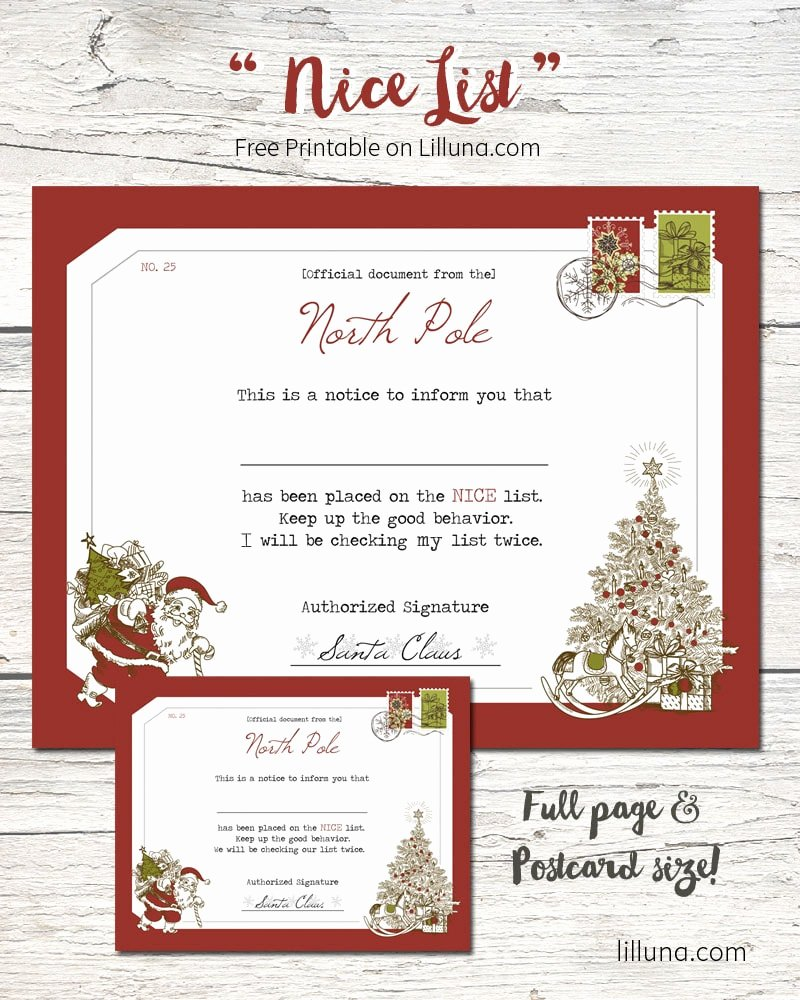 Free Printable Nice List Certificate Awesome Santa S Nice List Certificate
