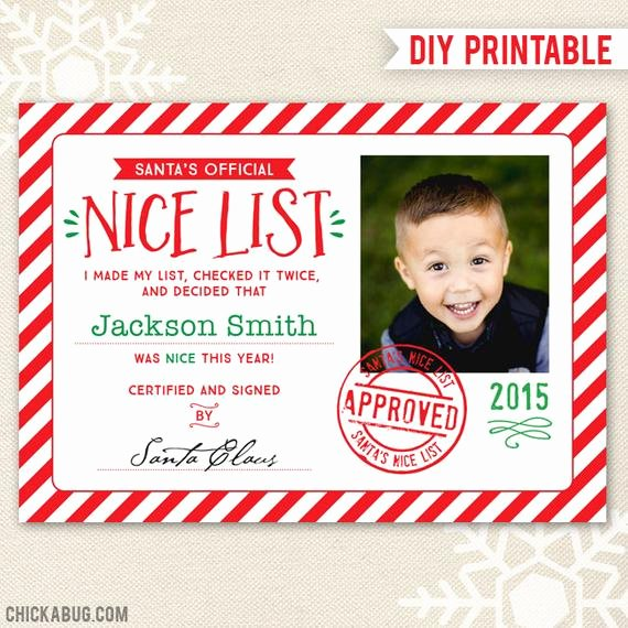 Free Printable Nice List Certificate Beautiful Items Similar to Santa S Nice List Certificate Diy