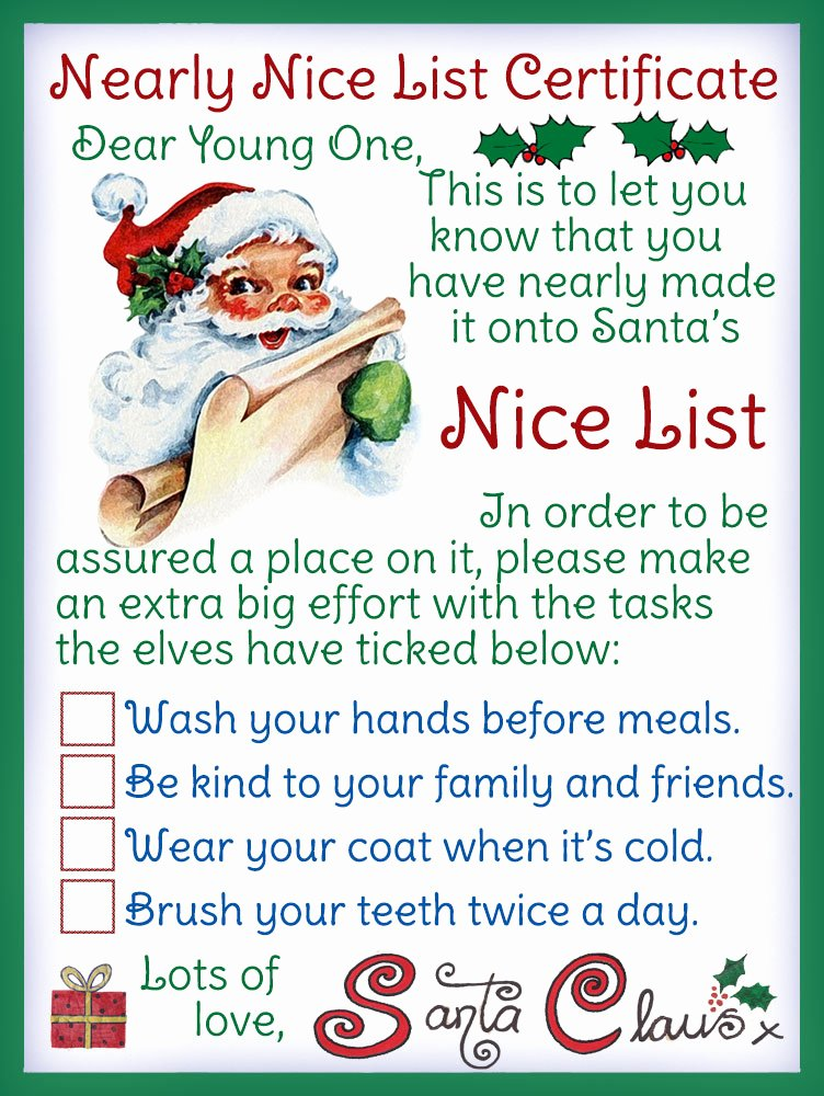 Free Printable Nice List Certificate Elegant Nearly Nice List Certificate Rooftop Post Christmas