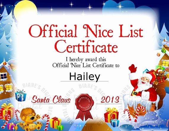 Free Printable Nice List Certificate Fresh Santa Nice List Certificate Christmas 2