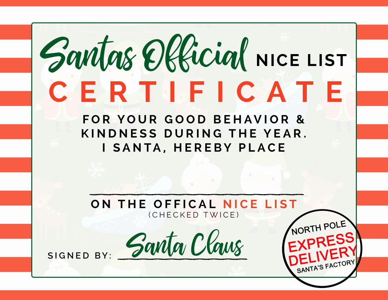 Free Printable Nice List Certificate Fresh Santas Ficial Nice List Certificate – Free Printable