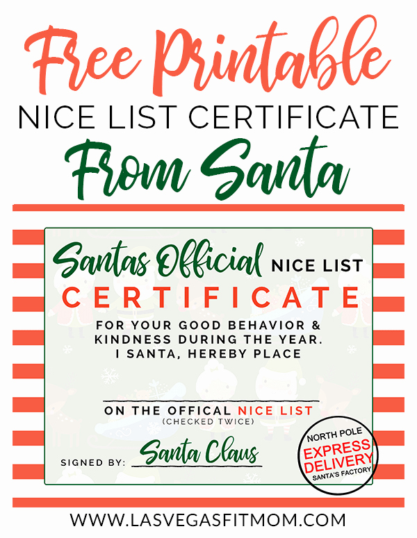 santas official nice list certificate free printable