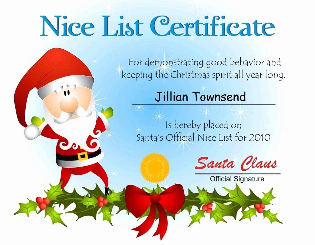 Free Printable Nice List Certificate Inspirational Free Printable Nice List Certificate Template Update234