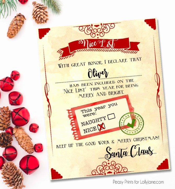 "Free Printable Nice List Certificate Lovely Santa ""nice List"" Free Printable Certificate"