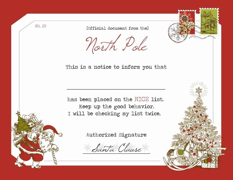 Free Printable Nice List Certificate Lovely Santa S Nice List Certificate