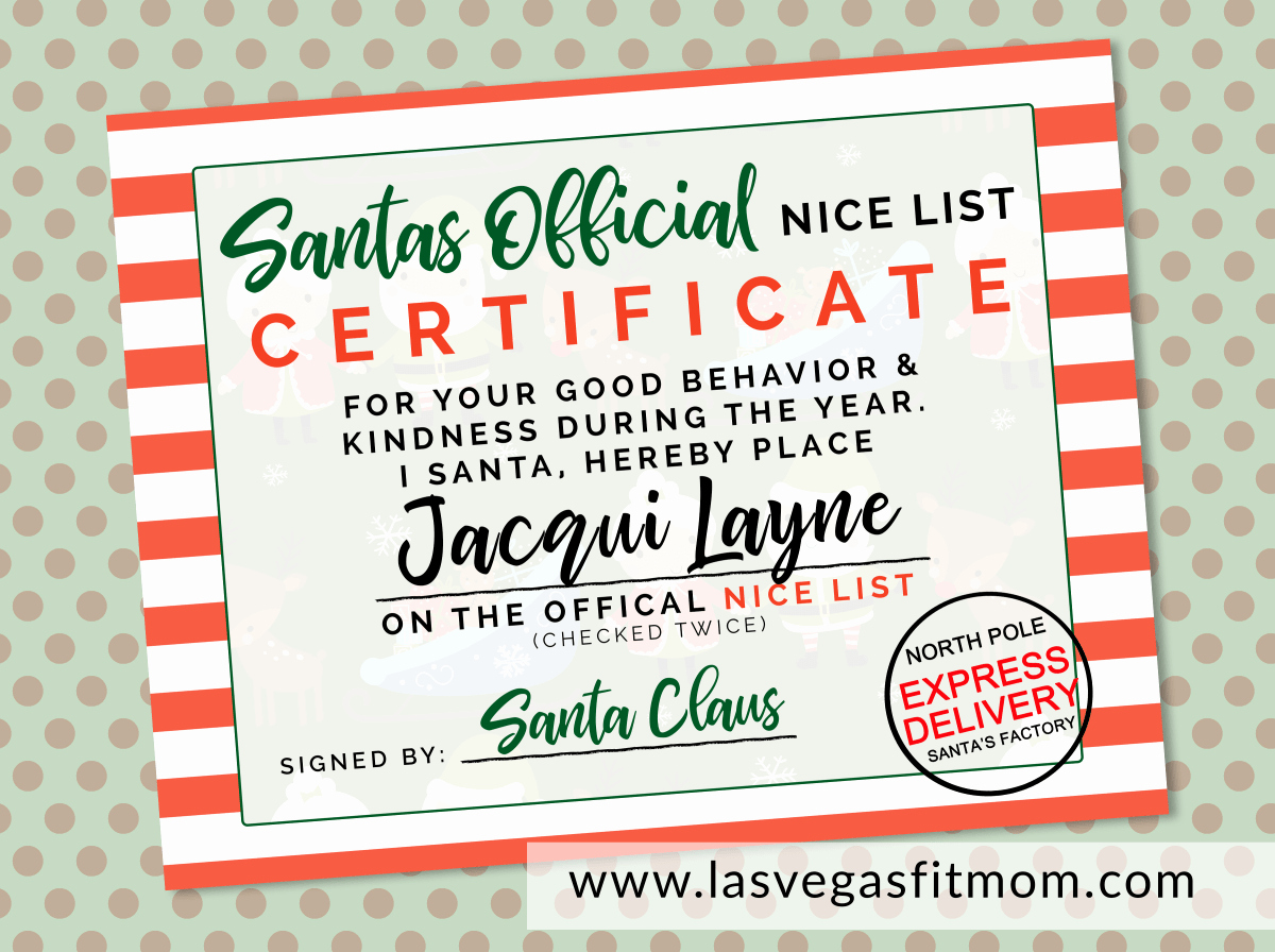 Free Printable Nice List Certificate Lovely Santas Ficial Nice List Certificate – Free Printable