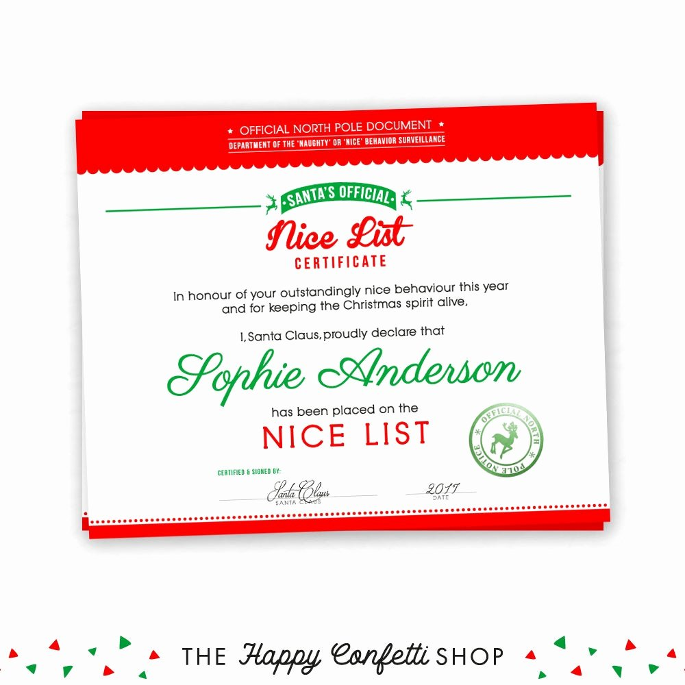 Free Printable Nice List Certificate Luxury Nice List Certificate Naughty or Nice Printable Christmas
