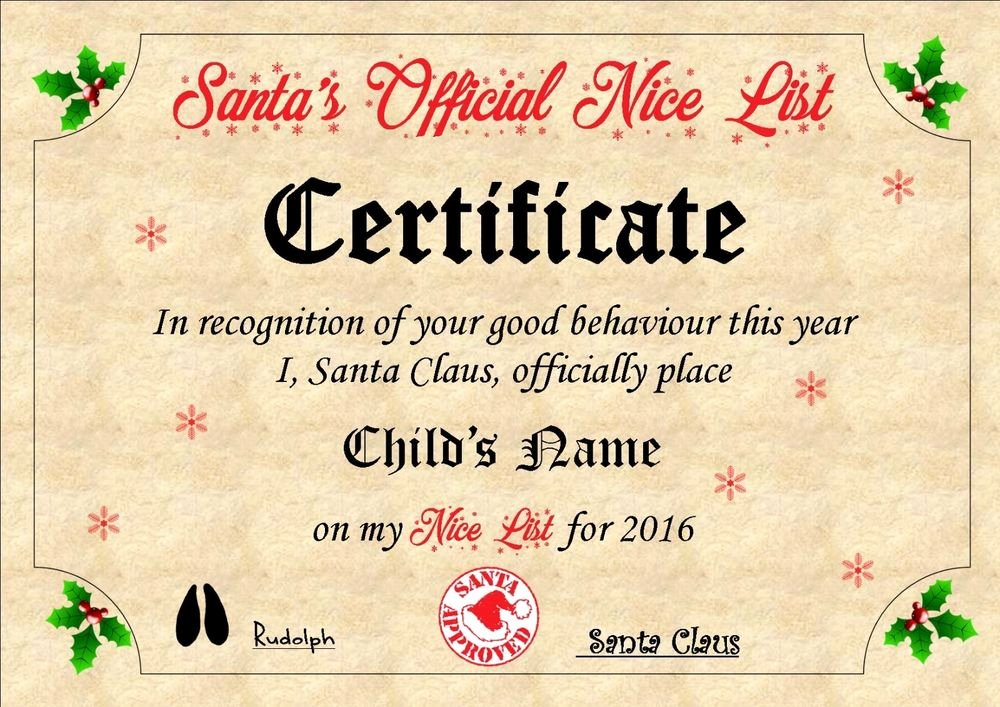 Free Printable Nice List Certificate Luxury Personalised Santa Nice List Certificate A4 Christmas Eve