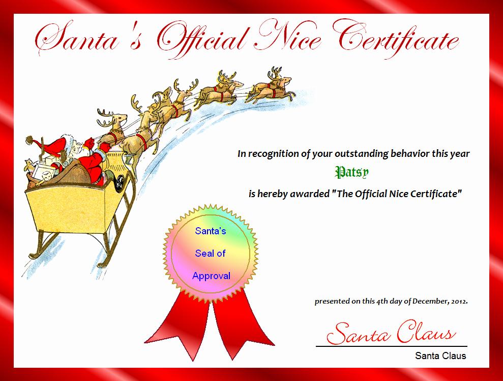 Free Printable Nice List Certificate New Free Printable Santa S Ficial Nice Certificate for