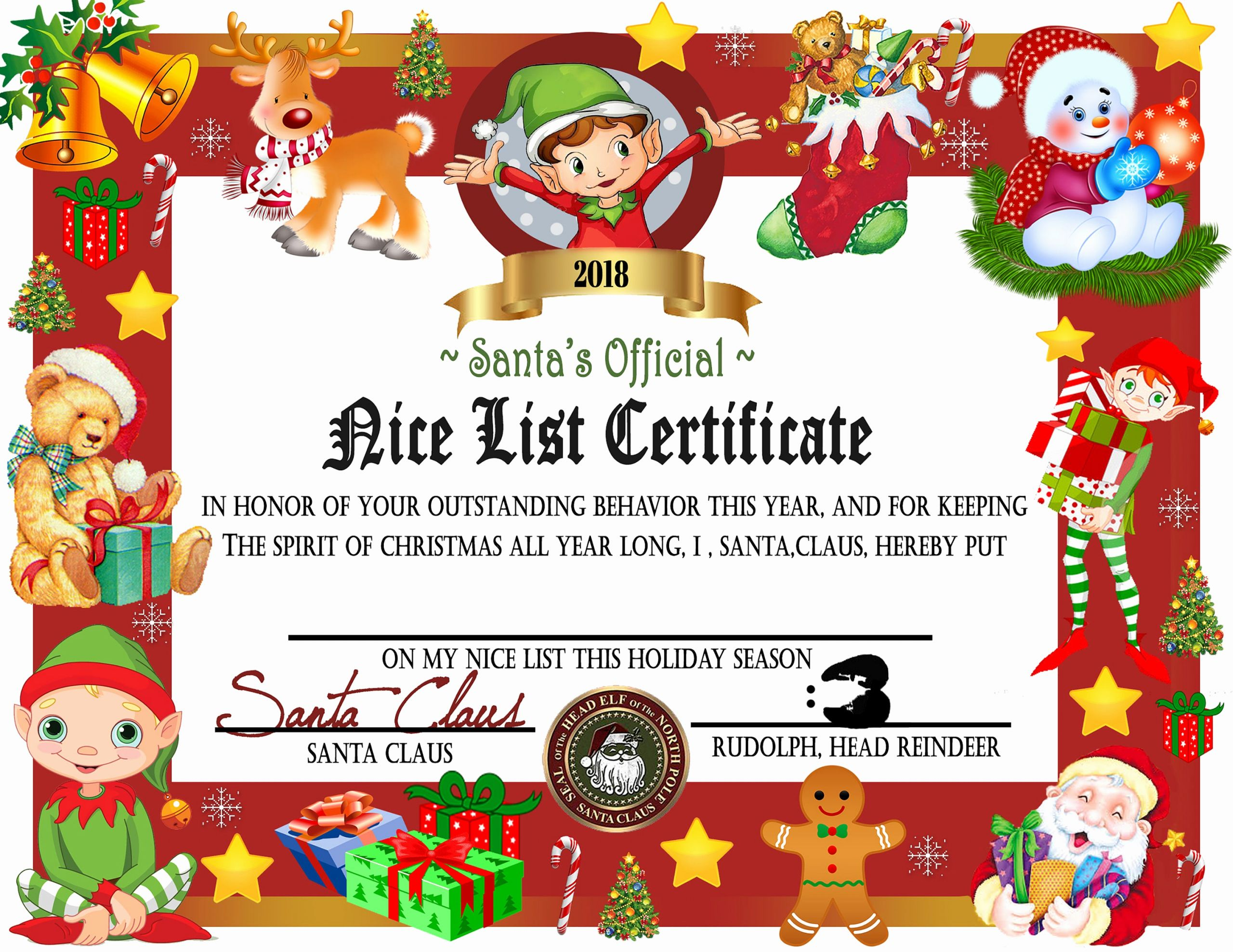 Free Printable Nice List Certificate Unique Printable Nice List Certificate Instant Download Nice List