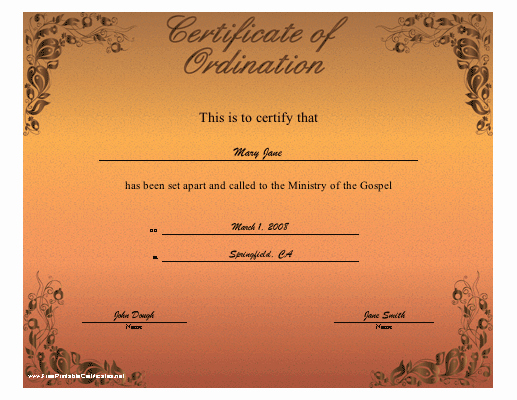 Free Printable ordination Certificate Beautiful ordination Certificate Printable Certificate