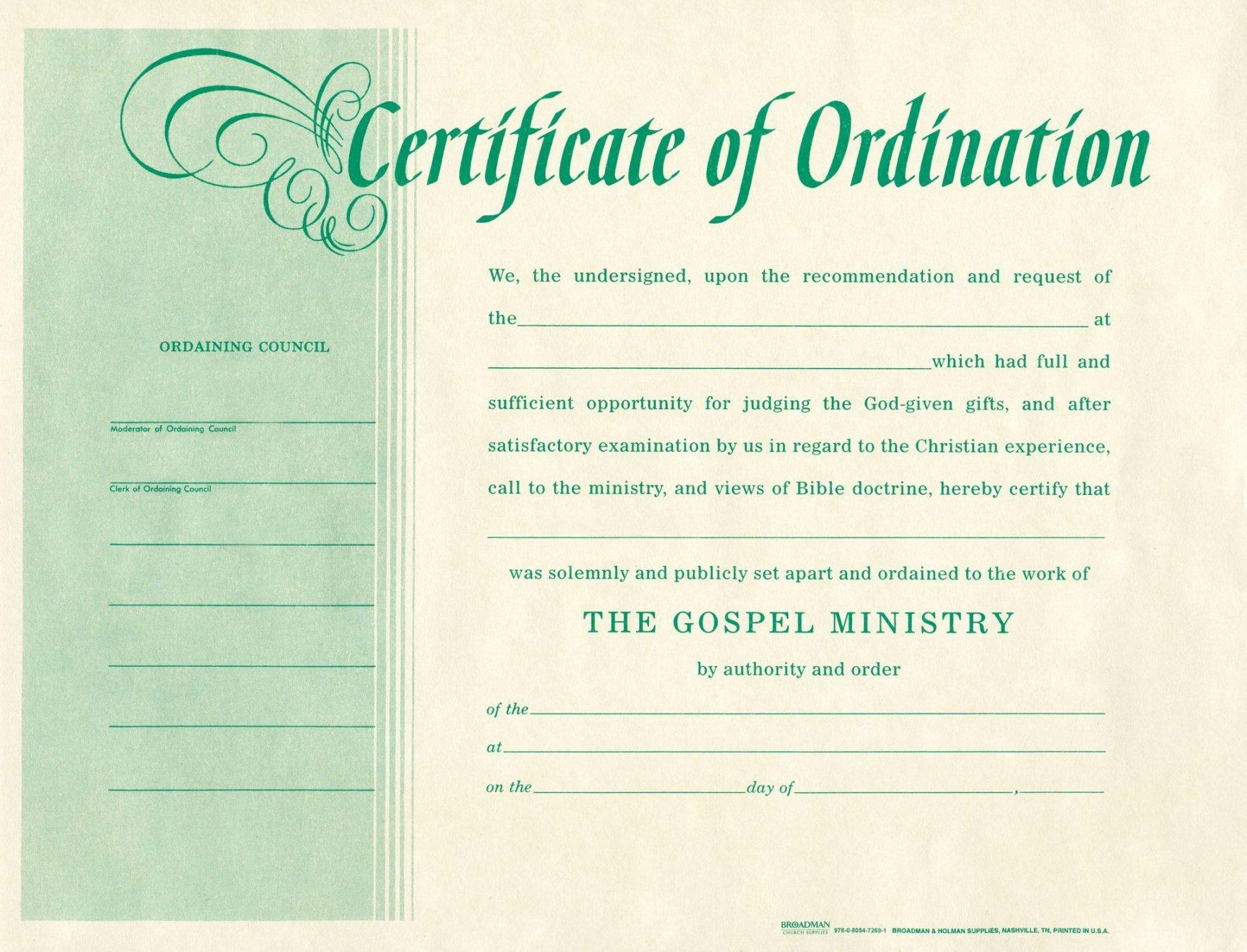 Free Printable ordination Certificate Inspirational Printable ordination Certificates Starkhouseofstraussco
