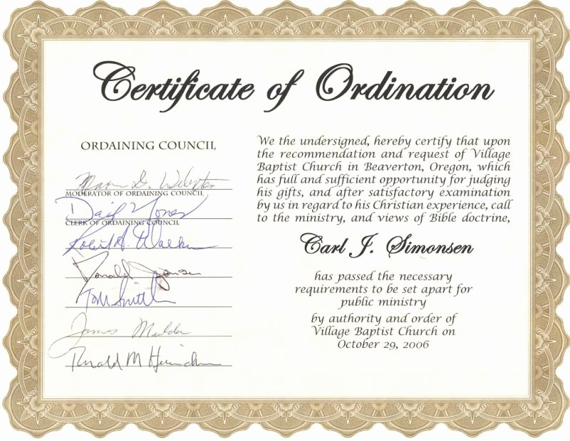 Free Printable ordination Certificate Luxury Carl Simonsen S Pastoral Support Ministry