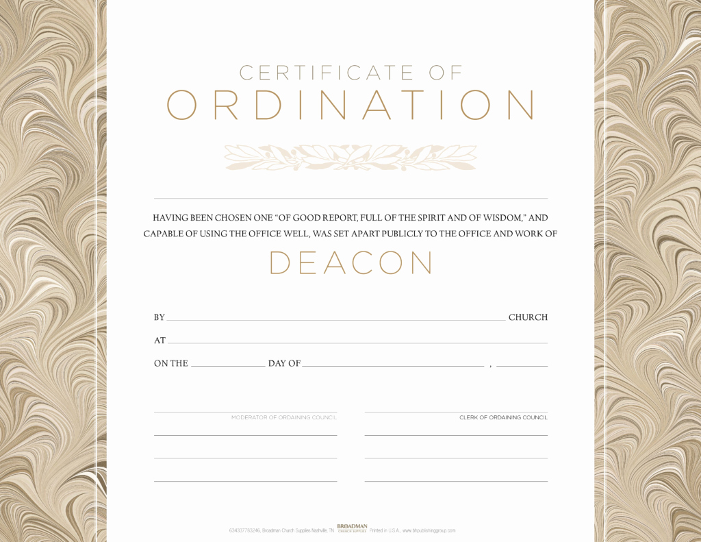 Free Printable ordination Certificate Luxury Deacon ordination Flat Certificate Pkg 6 B&h Publishing