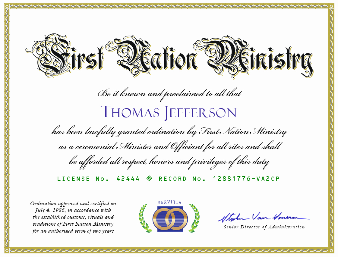 Free Printable ordination Certificate Unique Get ordained Line Free Line Marriage Minister ordination