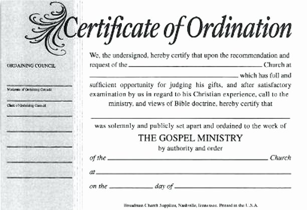 Free Printable ordination Certificate Unique ordained Minister Certificate are Ministry ordination