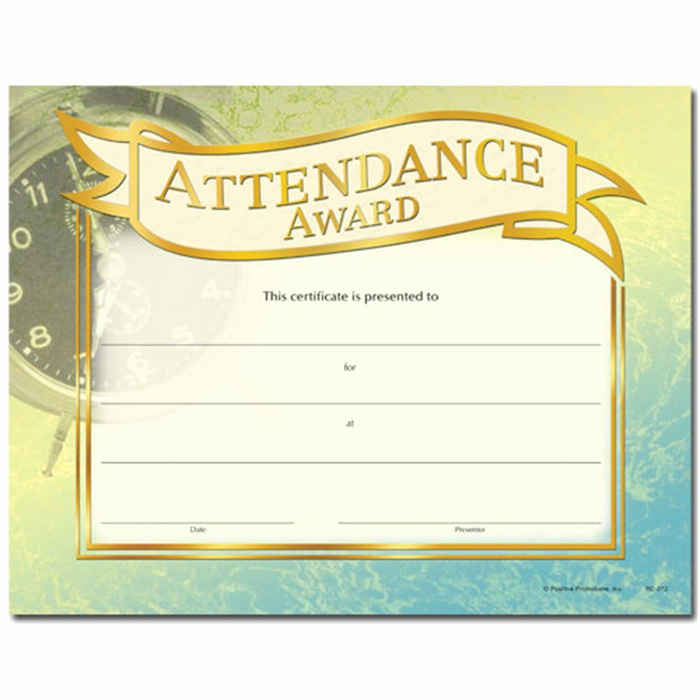 Free Printable Perfect attendance Award Certificates Best Of attendance Award Gold Foil Stamped Certificates