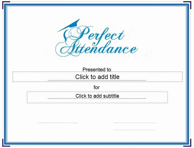 Free Printable Perfect attendance Award Certificates Fresh 13 Free Sample Perfect attendance Certificate Templates