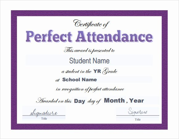 Free Printable Perfect attendance Award Certificates Inspirational 23 Sample attendance Certificate Templates In Illustrator