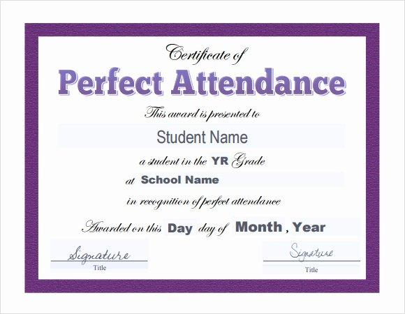 Free Printable Perfect attendance Award Certificates Inspirational 23 Sample attendance Certificate Templates In Illustrator