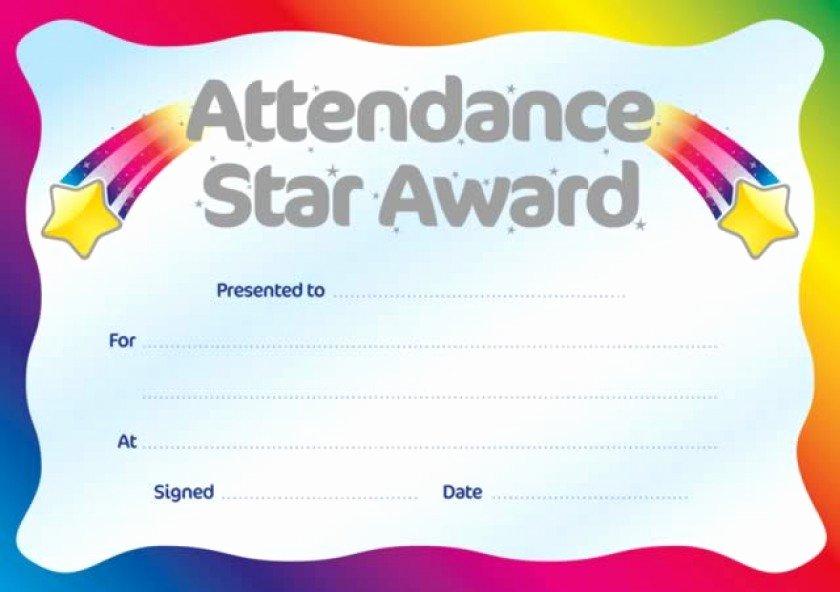 Free Printable Perfect attendance Award Certificates Inspirational Printable Perfect attendance Award Certificate