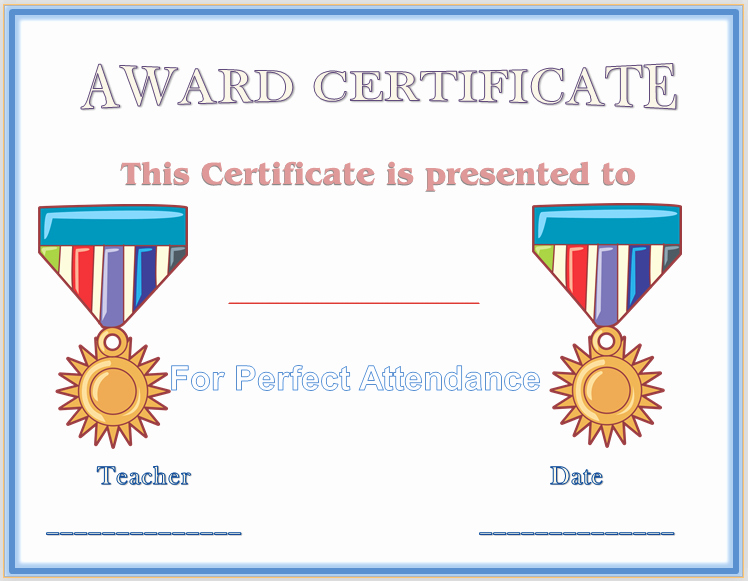 Free Printable Perfect attendance Award Certificates New Perfect attendance Award Certificate Template