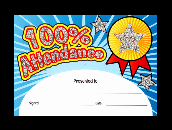 Free Printable Perfect attendance Certificates Lovely attendance Sparkling Certificate