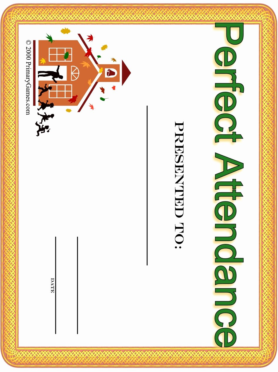 Free Printable Perfect attendance Certificates Lovely Award Certificates Primarygames Free Printable