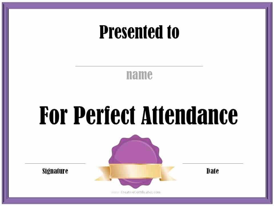 Free Printable Perfect attendance Certificates Lovely Perfect attendance Award Certificates