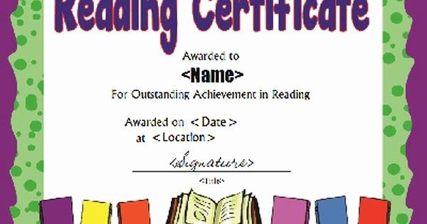Free Printable Reading Certificates Beautiful Printable Reading Award Certificate In Pdf and Doc formats