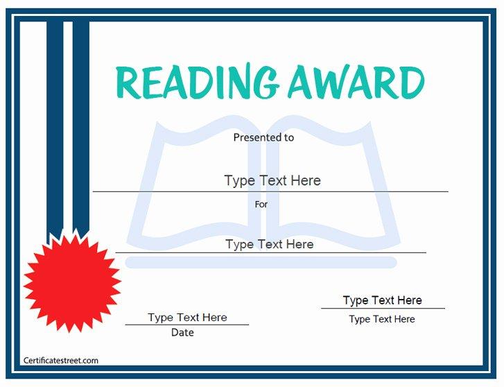 Free Printable Reading Certificates Fresh Certificate Street Free Award Certificate Templates No