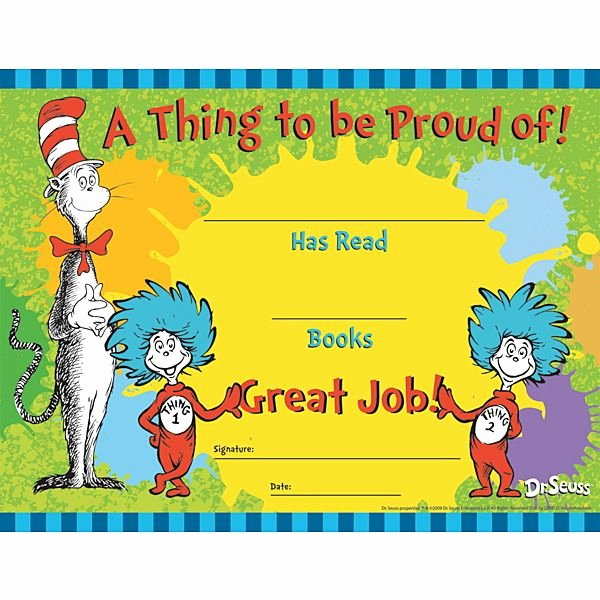 Free Printable Reading Certificates Fresh Demco Dr Seuss™ Cat In the Hat Reading Awards