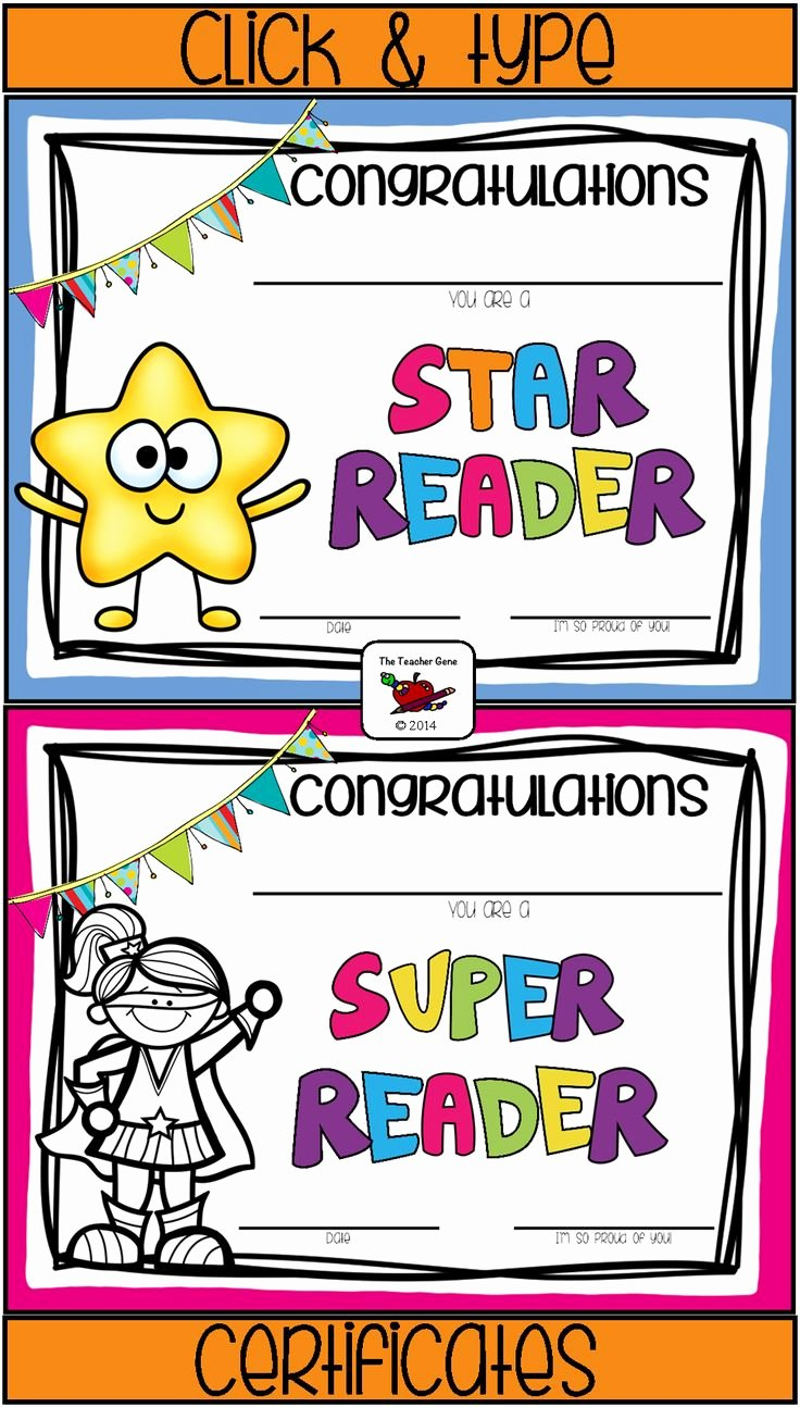 Free Printable Reading Certificates Fresh Just Click and Type On these Cute Reading Certificates
