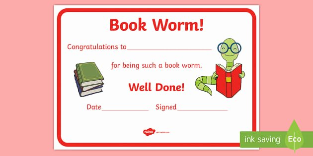 Free Printable Reading Certificates Fresh Reading Certificates Book Worm Certificate Reading Award