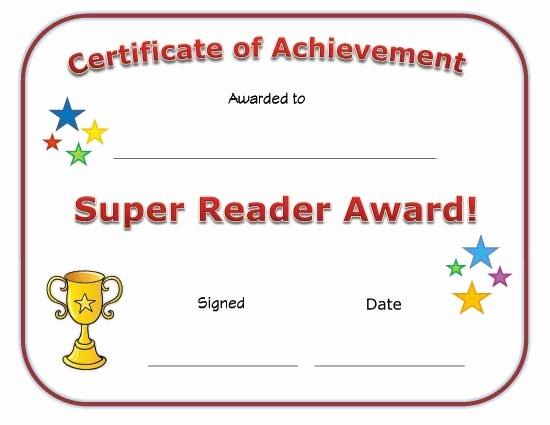 Free Printable Reading Certificates Inspirational Super Reader