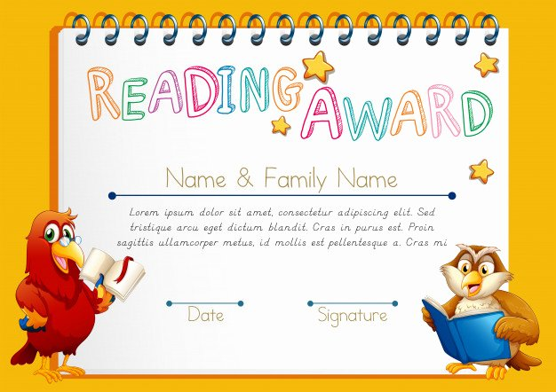 Free Printable Reading Certificates Luxury Certificate Template for Reading Award Vector
