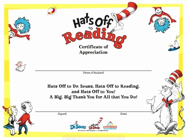 Free Printable Reading Certificates Luxury Happy Birthday Dr Seuss